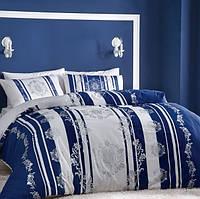 Постельное белье ТАС сатин Blaze lacivert V01 синее евро размера