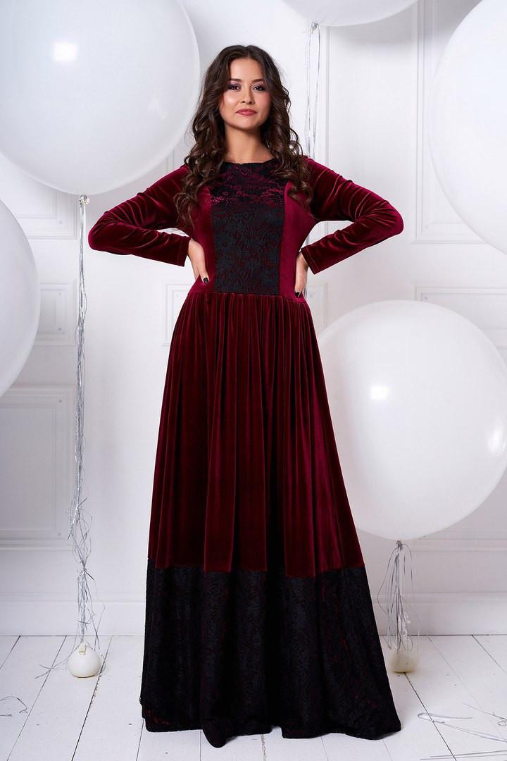 6f75b3037d5 Длинное расклешенное бархатное платье с гипюром   продажа