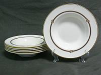 """Набор тарелок глубоких 6 шт., 23 см. """"Поэма"""" белая с золотистым"""