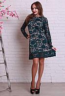 Платье женское из гипюра бутылочного цвета