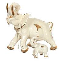 """Фигурка керамическая 38 см. """"Слон со слоненком"""" бежевая с золотистым со стразами"""