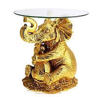 """Подставка интерьерная со стеклом 48х48 см. """"Слон"""" золотистый"""