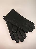 Перчатки мужские из натуральной кожи шерстяная набивка без узора