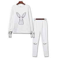 Костюм кофта + штаны теплые, белого цвета с зайчиком