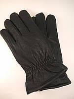 Перчатки мужские из натуральной кожи шерстяная набивка на резинке