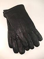 Перчатки мужские из натуральной кожи шерстяная набивка узор-3полоски