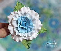 """Красивая заколка цветок """"Голубая кучерявая розочка"""""""