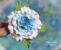 """Красивая заколка цветок """"Голубая кучерявая розочка"""", фото 1"""