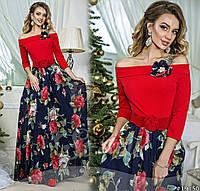 Женское платье в пол с цветочным низом , фото 1