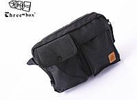 Мужская сумка с карманами в английском стиле. ThreeBox. Черная.