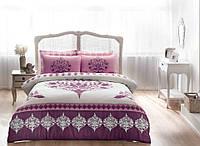 Постельное белье ТАС сатин Venna murdum V05 фиолетовое евро размера