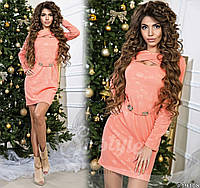 Женское платье из трикотажа с брошью спереди  , фото 1