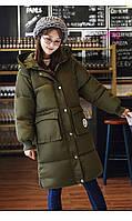 Куртка на синтепоне женская, зимняя  цвет оливковый