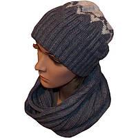 Вязаная женская шапка носок и шарф снуд с орнаментом