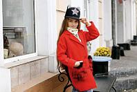 Кашемировое пальто для девочки с меховыми карманами.