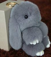 Меховой брелок на сумку Зайчик (gray)