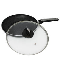 Сковорода Kamille 28см с мраморным покрытием и крышкой для индукции