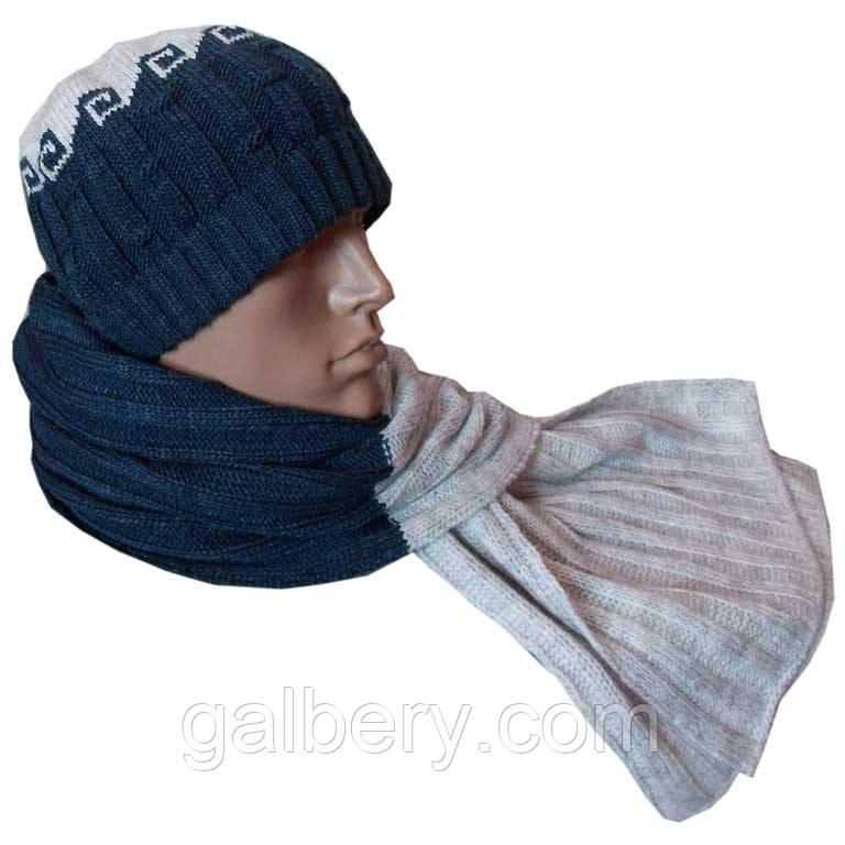 Чоловіча в'язана шапка - носок і шарф з норвезькими орнаментами