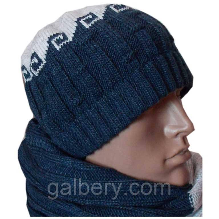 Утеплена шапка - носок з орнаментом і шарф
