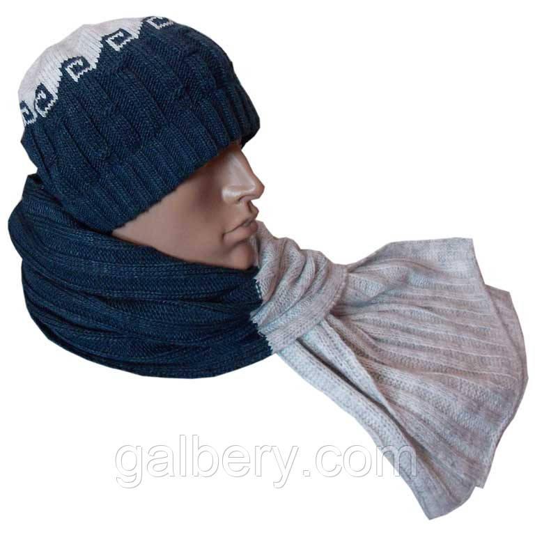Чоловіча в'язана шапка - носок (утеплений варіант) і шарф з норвезькими орнаментами
