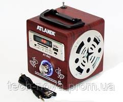 Радиоприемник-Колонка Atlanfa АТ-R62 (2 динамика, USB, SD, аккумулятор, 220 V)