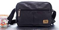 Мужская сумка-мессенджер через плечо. ThreeBox. Черная.
