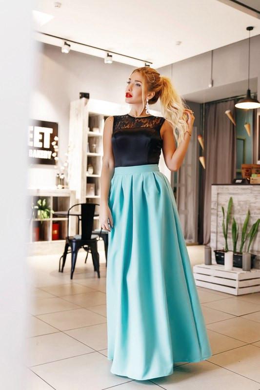 75dcc7613d02 Вечернее женское платье в пол с гипюром и молнией на спине   продажа ...