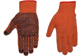 Перчатки х\б оранжевые 2 сорт