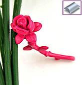Серьги-гвоздики винтаж роза ярко-розовая