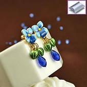 Сережки гвоздики сині квіти з підвіскою синій камінь
