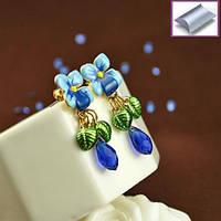 Серьги гвоздики синие цветы с подвеской синий камень