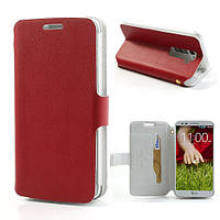 Чехол книжка боковой на LG Optimus G2 D802, Doormoon Красный