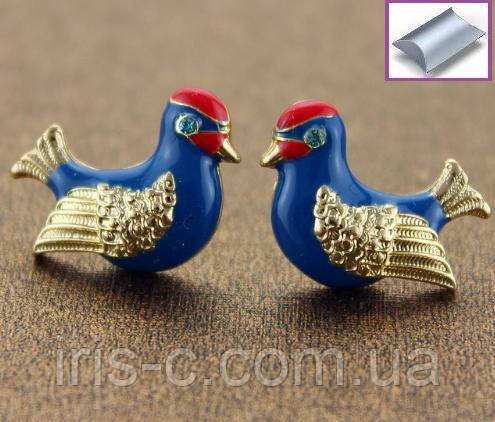 Серьги гвоздики синие птички с камешками
