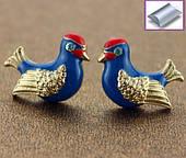 Сережки гвоздики сині пташки з камінчиками
