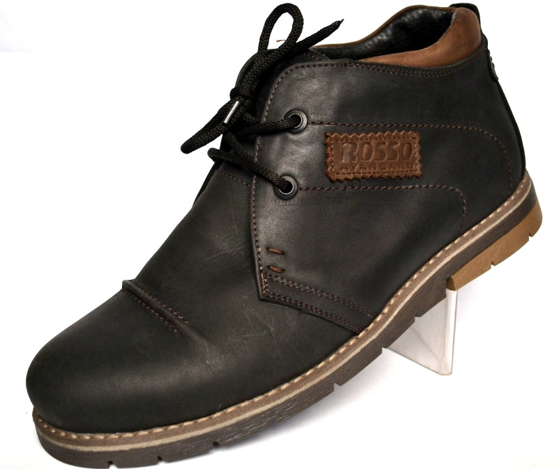 Шкіряні зимові чоловічі черевики дезерты чорні Rosso Avangard. WinterkingZ Black Street
