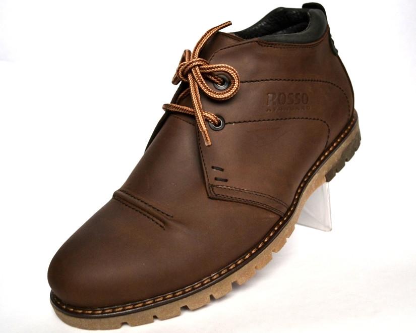 Ботинки мужские зимние кожаные коричневые дезерты обувь на меху Rosso Avangard WinterkingZ Brown