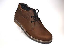 Черевики чоловічі зимові коричневі шкіряні взуття на хутрі дезерты Rosso Avangard King Brown