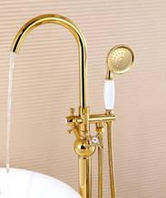 Напольная стойка для ванной комнаты со смесителем краном и лейкой бронза