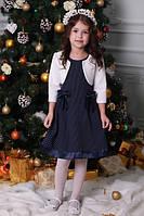 Красивое трикотажное детское платье для девочки украшеное бантиками