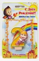 """Свеча на торт цифра """"Маша и Медведь """"2"""""""