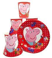 """Набор """"Свинка Пеппа"""" красный: Тарелки-10шт, Стаканы-10шт, Колпачки-10шт."""