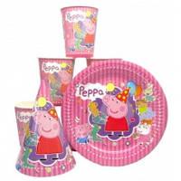 """Набор """"Свинка Пеппа"""" розовый: Тарелки-10шт, Стаканы-10шт, Колпачки-10шт."""