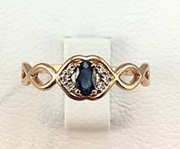 Кольцо с сапфиром  и бриллиантами золотое  585 проба