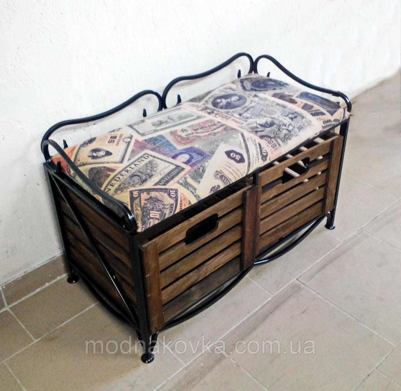 Диван-этажерка лавка кованая с 2 ящиками