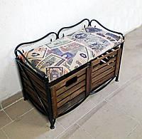 Диван-тумба кованая с 2 ящиками, фото 1