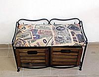 Диван-этажерка лавка кованая с 2 ящиками, фото 1