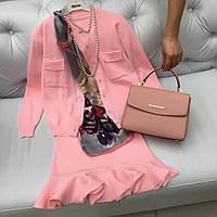 Модный трикотажный костюм платье и кардиган розовый