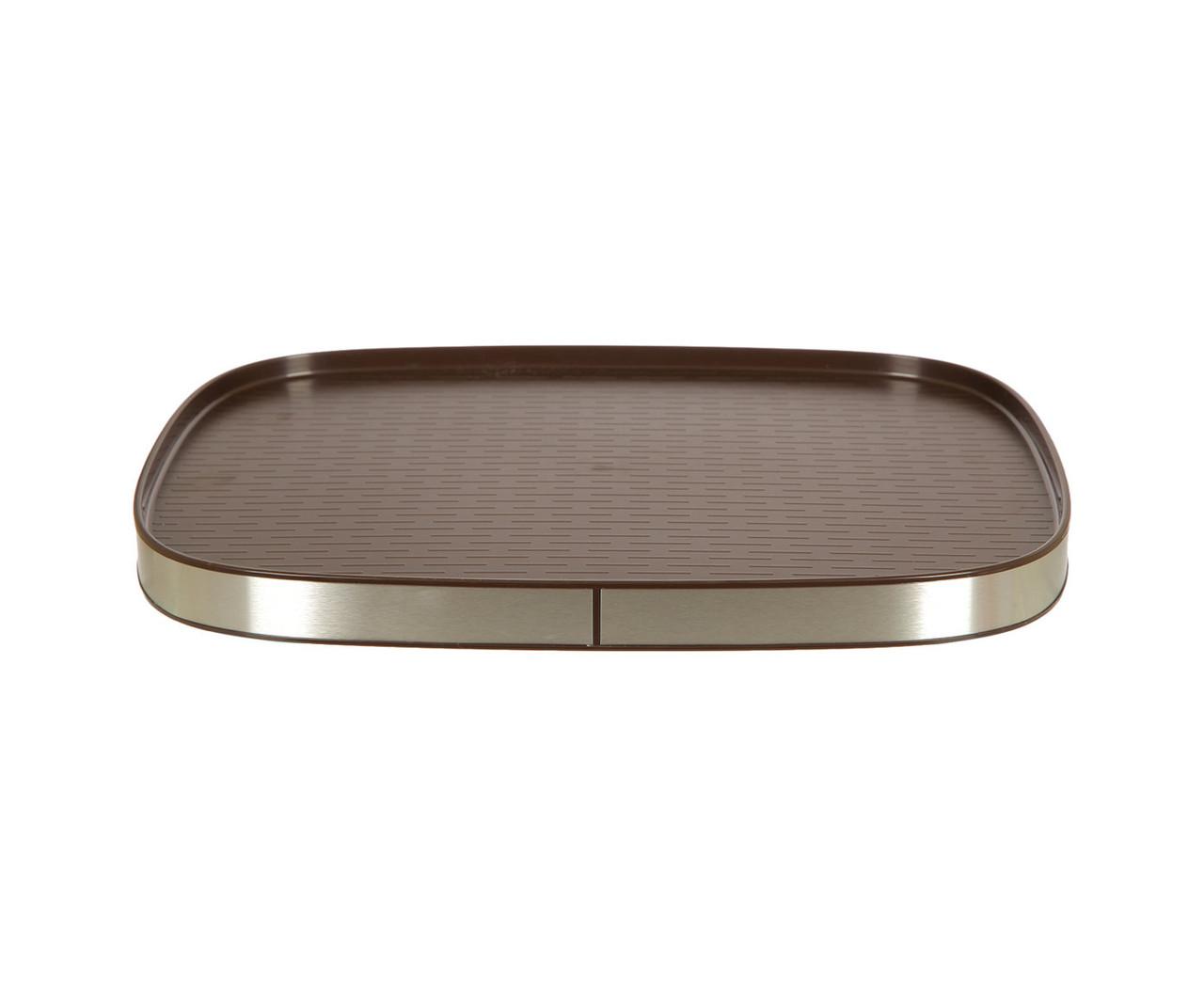 Поднос нескользящий с алюминиевым кантом коричневый 46*34,5 см PRIMA NOVA