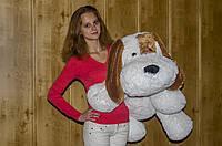 Собака «Шарик» мягкая 110 см белый и персиковый