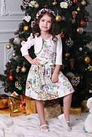 Нарядное детское платье для девочки с узором цветы и птицы с болеро Цветы и птицы на молочном, 122